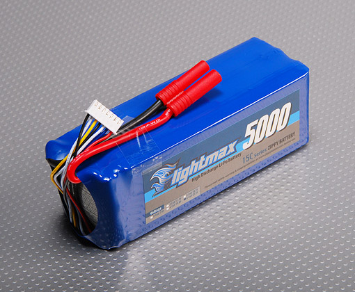 A single 22.2V 5Ah LiPo Pack